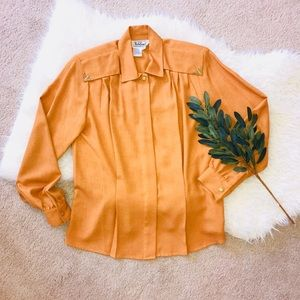 Vintage Mustard Button Down with Gold Accents